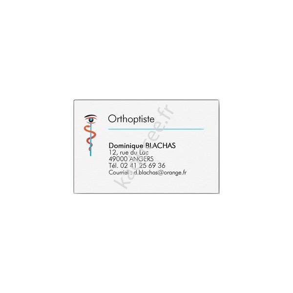 Carte De Visite Orthoptiste Grand Format Boite 100 Ex